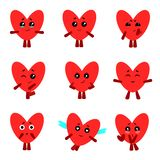 Cute hearts with different emotions. Vector set. royalty free illustration