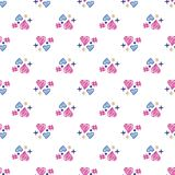 Cute hearts elements seamless pattern. 14 february. wallpaper royalty free stock photos