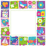 Cute hearts flowers and butterflies border. Illustration of butterflies hearts flowers houses boat present and fish on colorful square shape frame and white Stock Photography