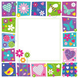 Cute hearts flowers and butterflies border Royalty Free Stock Images