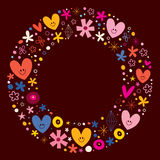 Cute hearts and flowers circle frame Royalty Free Stock Photography