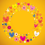 Cute hearts and flowers circle retro frame Royalty Free Stock Photography