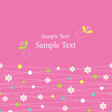 Cute hearts flowers dots and butterflies greeting card Royalty Free Stock Photo