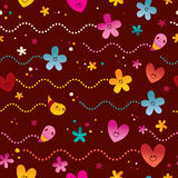 Cute hearts and flowers seamless pattern. Design Stock Photo