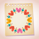 Cute hearts frame note paper cartoon illustration Royalty Free Stock Images