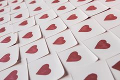 Love notes. Background for design with red hearts Background with red hearts. Pattern. royalty free stock photos