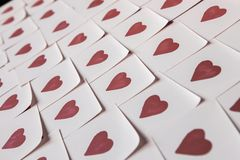 Love notes. Background for design with red hearts Background with red hearts. Pattern. stock photos