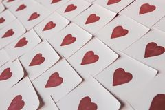 Love notes. Background for design with red hearts Background with red hearts. Pattern. royalty free stock image