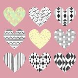 Cute hearts on pink background with dots and stripes for invitat Royalty Free Stock Image