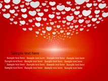 Cute hearts on red background Stock Photos