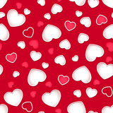 Cute hearts seamless pattern with a red background Stock Photo