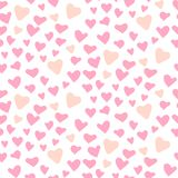 Cute Hearts Seamless Vector Pattern. Valentines Day Pink Background. Stock Photo