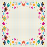 Cute hearts, stars, flowers and diamond shapes frame. Frame design element with copy space Stock Image