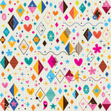 Cute hearts, stars, flowers and diamond shapes retro note book paper pattern Royalty Free Stock Photos