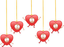 Cute hearts on a string Stock Images