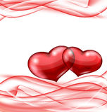 Cute hearts, Valentine wavy background Stock Photos