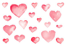 Cute Hearts. Watercolor illustration Stock Images