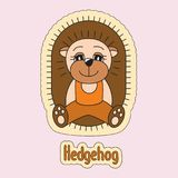 Cute hedgehog, cartoon, prickly animal. Beautiful kid`s illustration for sticker or card Stock Image