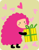 Cute hedgehog with gift box Stock Images