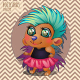 Cute hedgehog girl rocker, cartoon series Royalty Free Stock Images