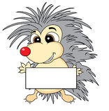 Cute hedgehog holding a blank sign Royalty Free Stock Images