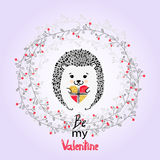 Cute hedgehog with present. Valentines day card Stock Images