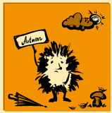 Cute hedgehog with a sign, hand drawn Royalty Free Stock Images