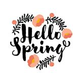 Cute hello spring lettering and coral peony flower Stock Photos