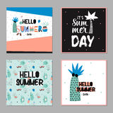 Cute Hello Summer Cards Royalty Free Stock Photography