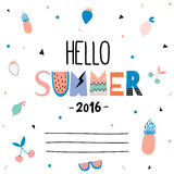 Cute Hello Summer Poster Royalty Free Stock Photo