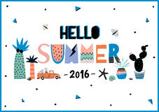 Cute Hello Summer Poster. With Trandy Summer Elements. Summer Typographic. Scandinavian Style. Vector. White Background. Good for Greeting Cards, Gift Tags Stock Photography