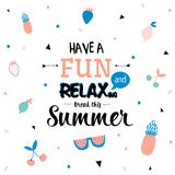 Cute Hello Summer Poster Royalty Free Stock Images