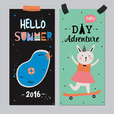 Cute Hello Summer Posters Royalty Free Stock Images