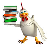 Cute Hen cartoon character with books Stock Image