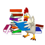 cute Hen cartoon character with books Stock Images
