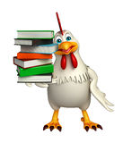 Cute Hen cartoon character with books Royalty Free Stock Photos