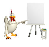 Cute Hen cartoon character with easel board. 3d rendered illustration of  Hen cartoon character with easel board Stock Image