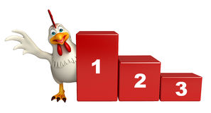 Cute Hen cartoon character with level. 3d rendered illustration of  Hen cartoon character with level Stock Photography