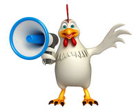 Cute Hen cartoon character  with loud speaker Stock Photos