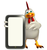 Cute Hen cartoon character with mobile Stock Image
