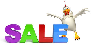 cute Hen cartoon character with sale sign royalty free illustration