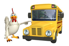 cute Hen cartoon character with school bus Stock Photo