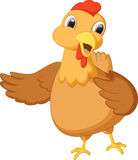 Cute hen cartoon waving Stock Photo