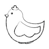 Cute hen drawing icon Royalty Free Stock Image