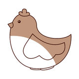 Cute hen drawing icon Stock Images