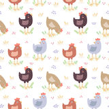 Cute hens vector seamless pattern Stock Photography