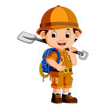 Cute hiker boy holding shovel Royalty Free Stock Image