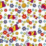 Cute hippie seamless pattern design with flowers smile and love letters. Vector illustration vector illustration