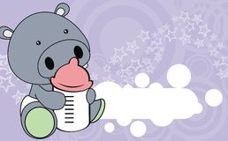 Cute hippo baby cartoon background Royalty Free Stock Image