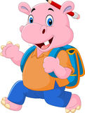 Cute hippo with backpack Royalty Free Stock Photography